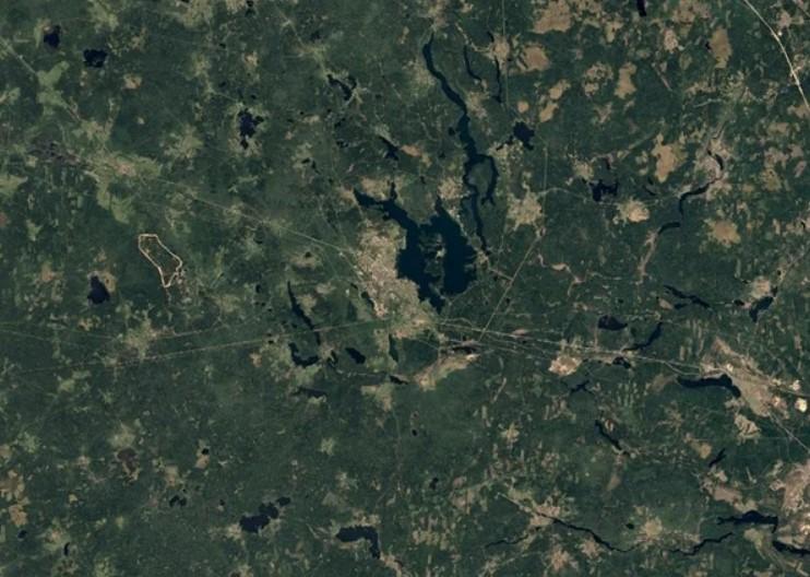 Валдайский национальный парк, вид из космоса