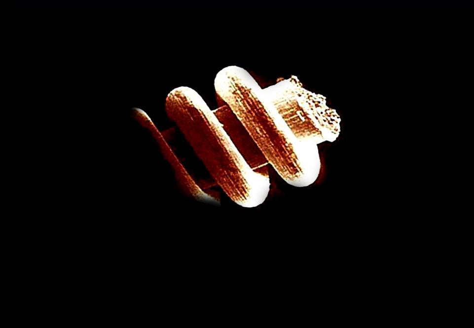 Фрагмент пружинки под микроскопом