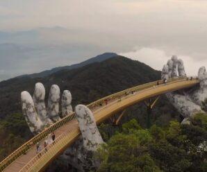 Огромные каменные руки держат мост — красивая задумка в парке Ba Na Hills, Вьетнам