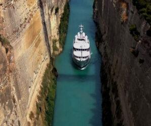 Зажатый между скалами проход для кораблей — Коринфский канал