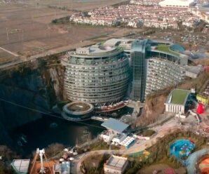 Что можно создать в заброшенной каменоломне? — Встроенный в гранитную стену отель «Страна Чудес Шанхая»