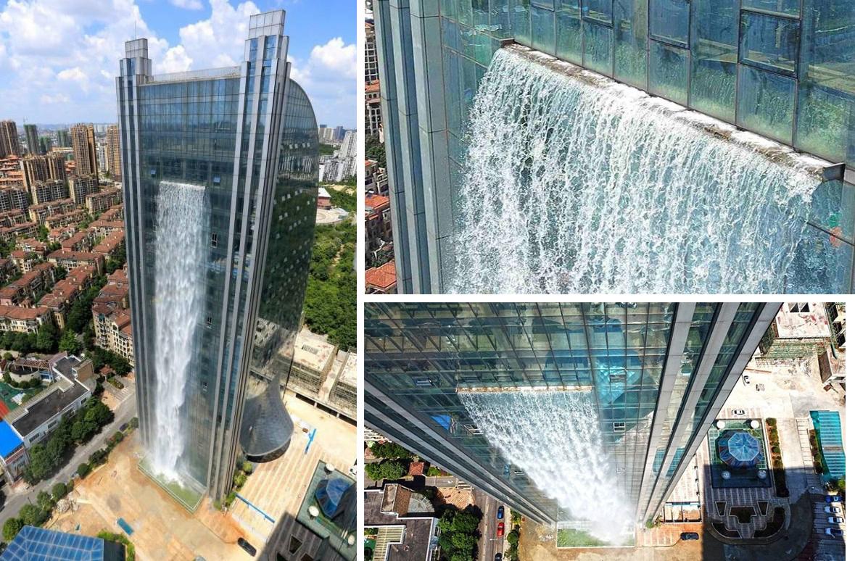 Водопад, который льётся с небоскрёба