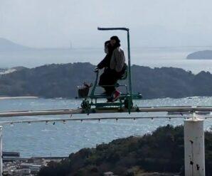 Не каждый отважится крутить педали на высоте 5-этажного дома — небесный велосипед в парке Окаяма