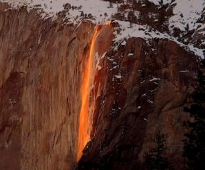 Падающая с 650 м вода, которая иногда «вспыхивает», словно огонь или лава — водопад «Лошадиный хвост»